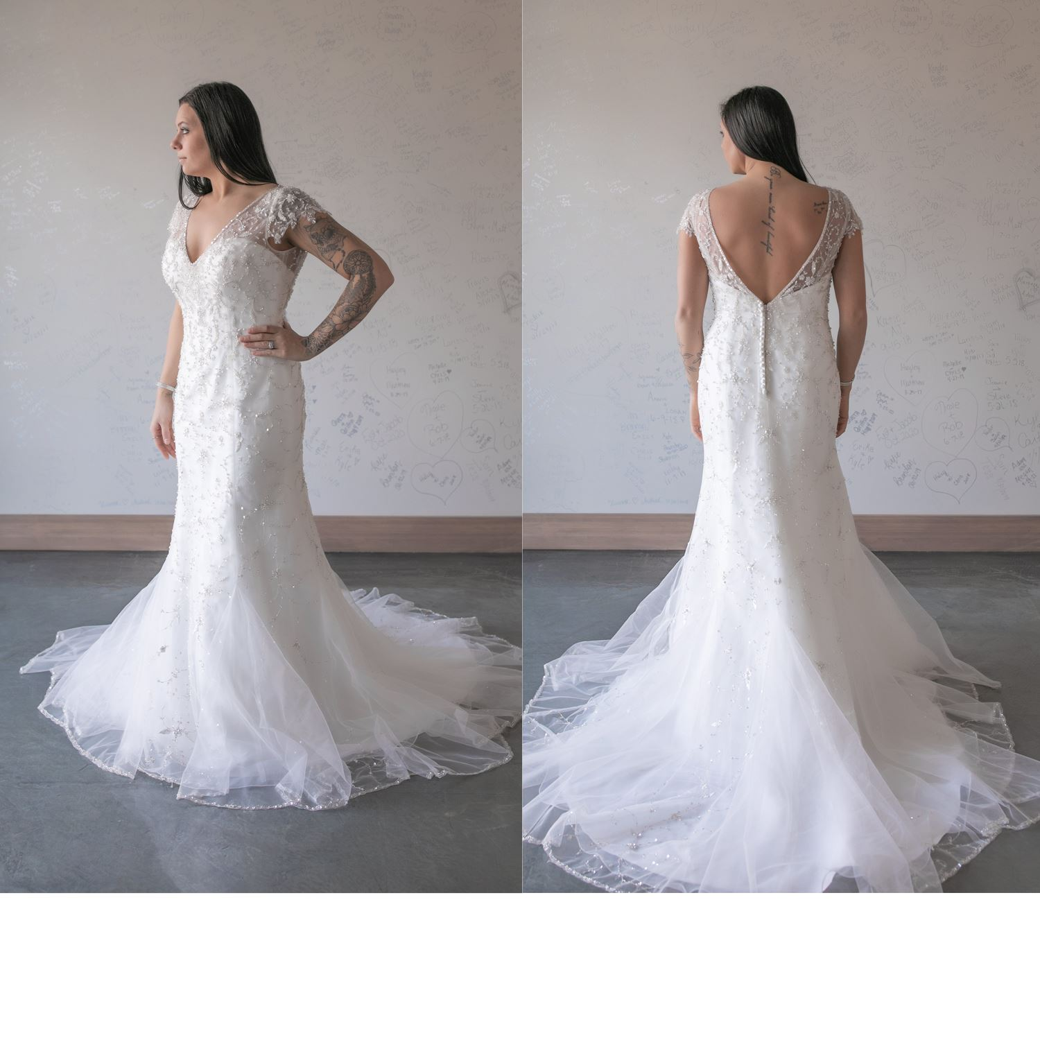 Lillian - Size 14 - Ivory/Silver Beading - Originally priced $1399 - Sample box price $749