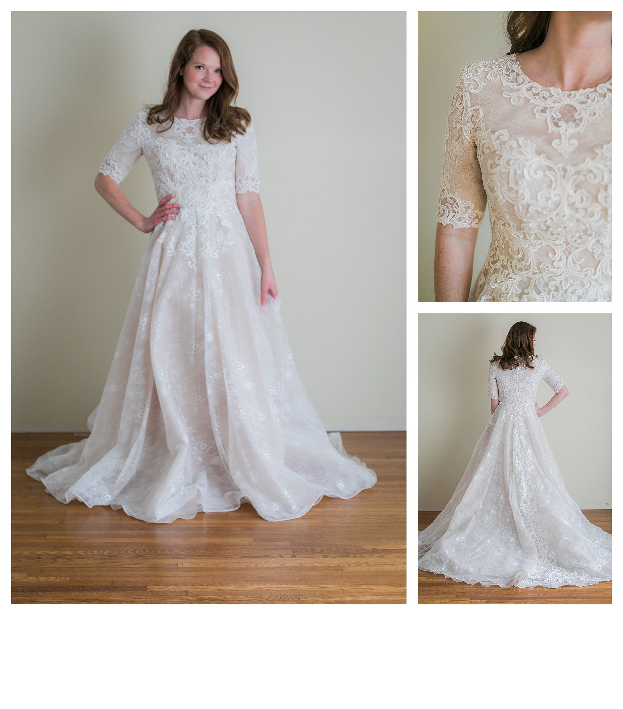 Salome - Size 8 - Ivory/Champagne - Originally priced $1999 - Sample box price $1399