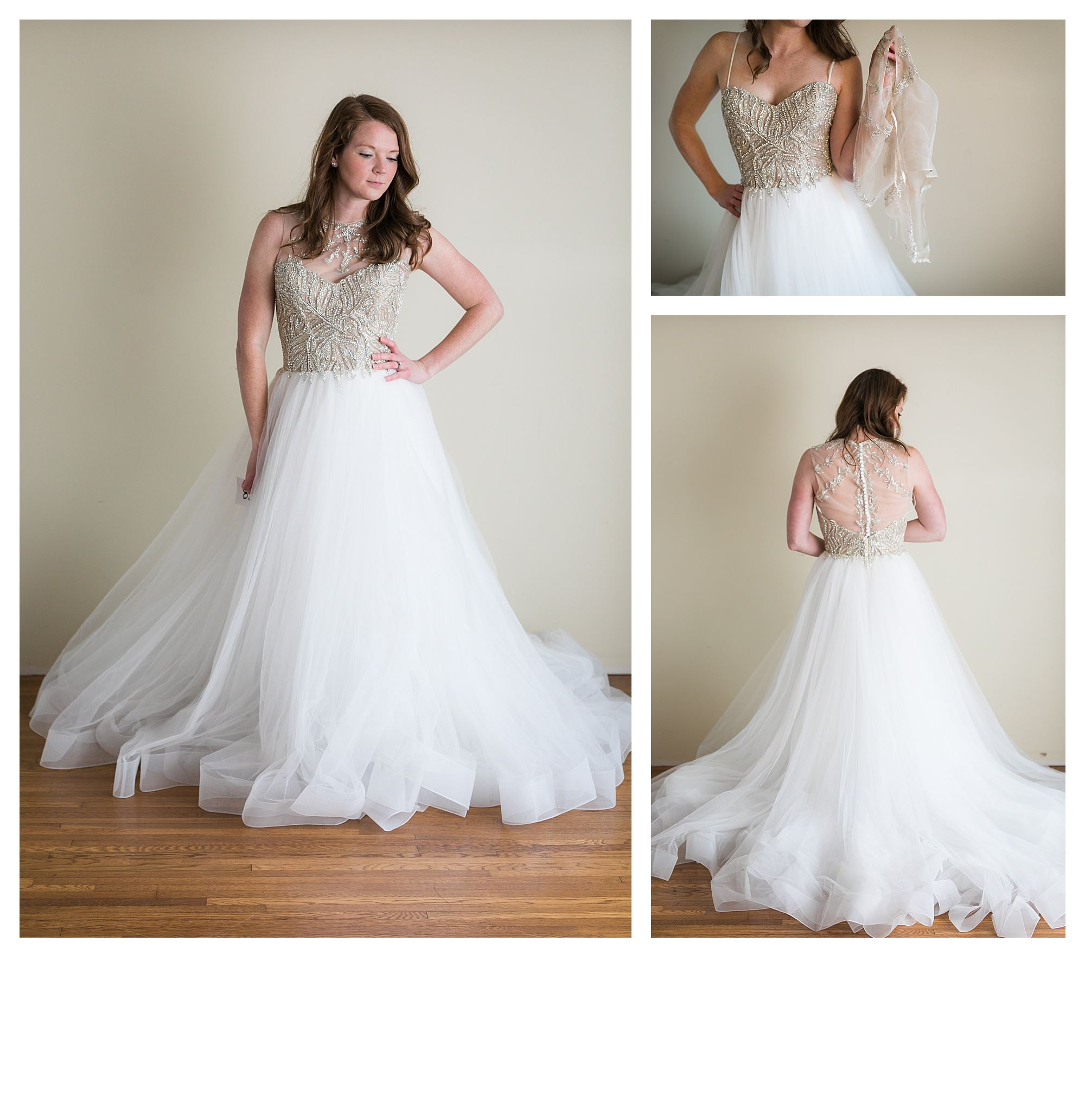 Santina - Size 14 - Ivory/SIlver - Originally priced $1799 - Sample box price $1199