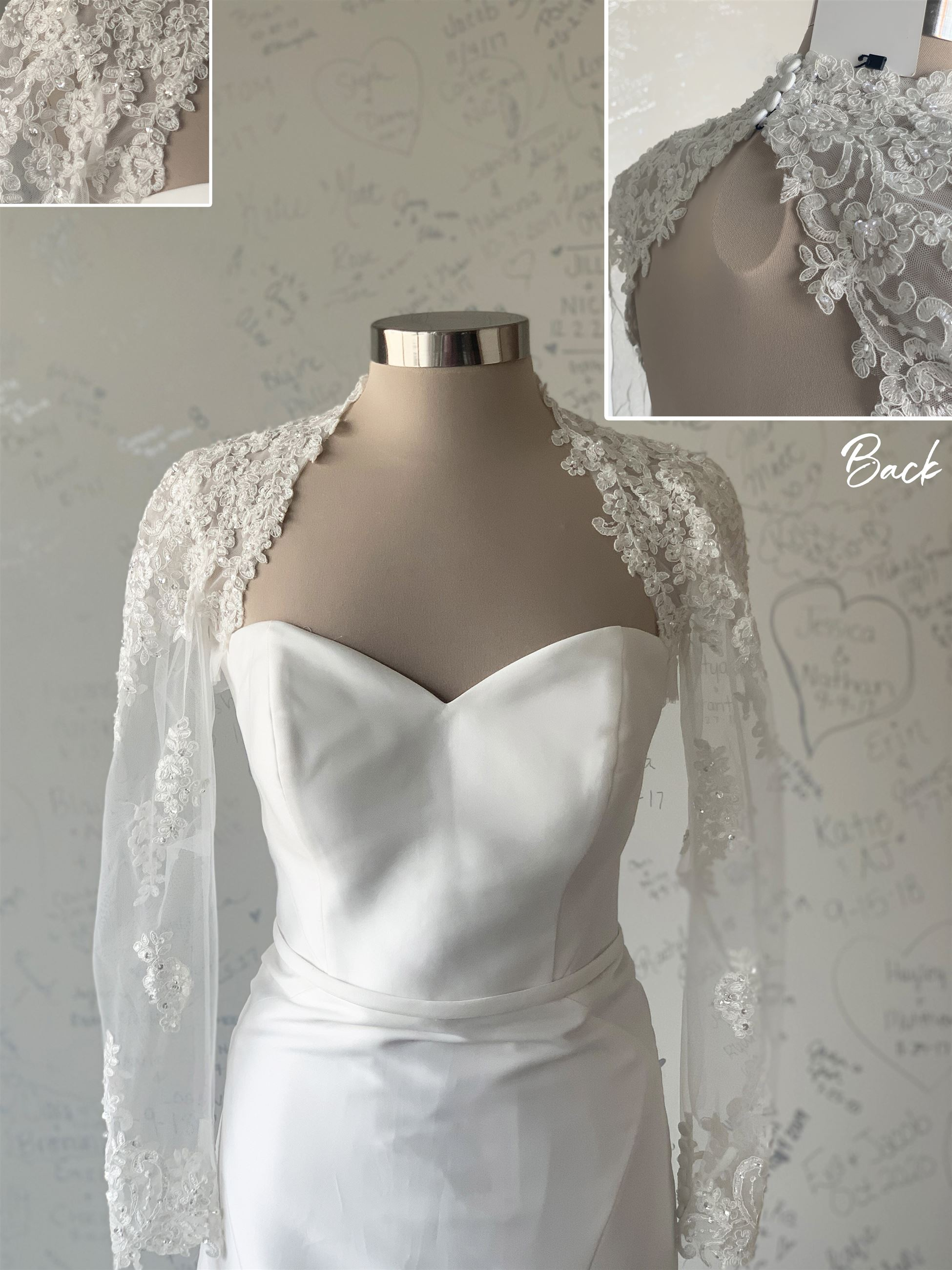 Shoulder Sleeves - Keyhole Back - Size 8 and 18 available in ivory - $273