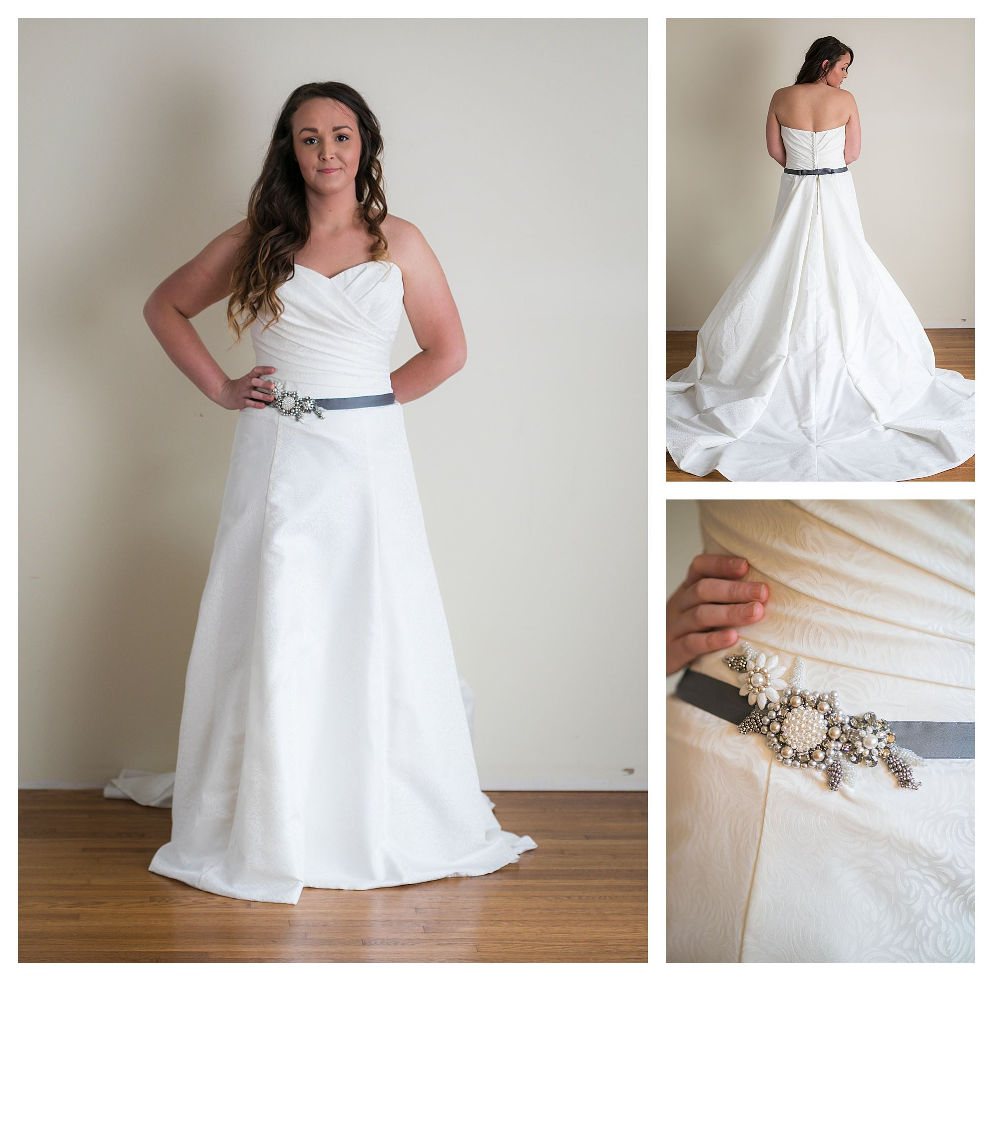 Serene - Size 12 - Ivory/Gray - Originally priced $999 - Sample box price $699